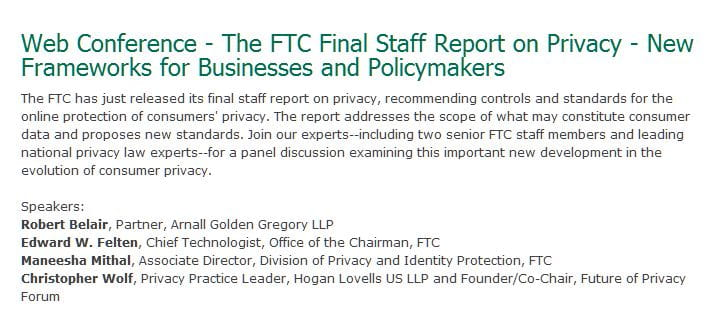IAPP Web Conference on FTC Final Staff Report to Be Moderated by Hogan Lovells Partner