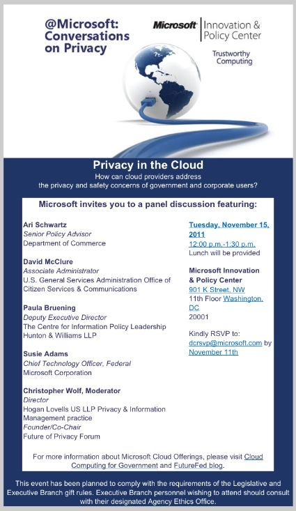 Complimentary 11/15/11 Lunchtime Event on Cloud Computing Hosted by Microsoft Moderated by Hogan Lovells Privacy Leader